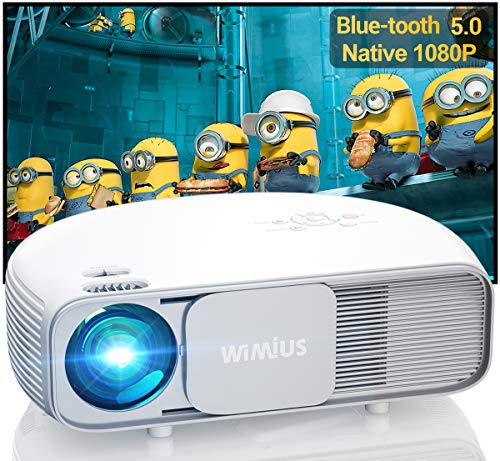 Bluetooth Projector Native 1920x1080P Full HD, WiMiUS Upgrade S4 Home & Outdoor Projector Support 4K & Dolby, 300' Led Video Projector Compatible with Fire TV Stick, PS4, Laptop, iPhone, DVD (White)