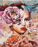 GenericBrands Pintar por Numeros para Adultos Niños Mujer, con, Flores DIY Pintura al Óleo Pintura por Números con Pinceles y Pinturas Decoraciones para el Hogar (40 x 50 cm Sin Marco)