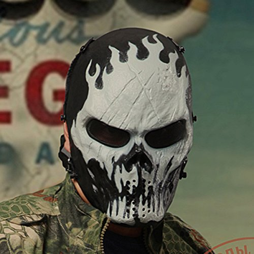 WorldShopping4U Metall Mesh Auge Gesicht Maske BB Schützen für Airsoft Paintball Hockey Cosplay M06 Ghost Fire