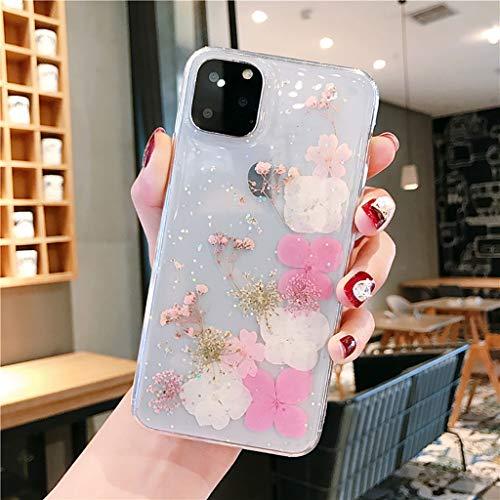 Cover per iPhone 11 Pro Max con fiori secchi in gel di cristallo, sottile, realizzata a mano, con fiori e fiori