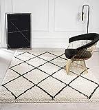 the carpet Bahar Shaggy Hochflor (35 mm) Langflor Wohnzimmer Teppich Rauten Muster Creme-Schwarz...