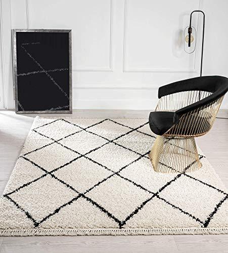 Bahar Shaggy Hochflor (35 mm) Langflor Wohnzimmer Teppich Rauten Muster Creme-Schwarz 080x150 cm