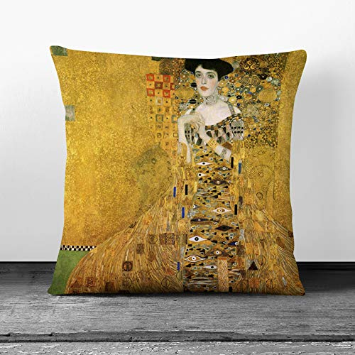 Big Box Art Cushion and Cover - Gustav Klimt Portrait of Adele Bloch-Bauer I - Single Square Throw Pillow - Soft Faux Suede Material - Charcoal Rear - 40x40 cm