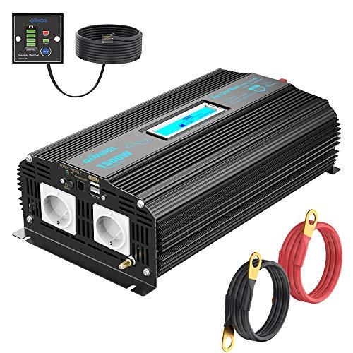 1500W Spannungswandler 12V auf 230V Reiner Sinus Wechselrichter Power Inverter mit 4,8A Dual USB Ports 2 AC-Steckdosen und Fernbedienung Bildschirm LCD für Home RV Truck GIANDEL