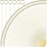 H&W 12''L Golden Ring Loop Round Shape Card Holders 40PCS Floral Picks Clips for Wedding & Flower Arrangements, DIY Craft Wire Clip Table Card Holders Note Photo Picture Memo Holder Cake Topper
