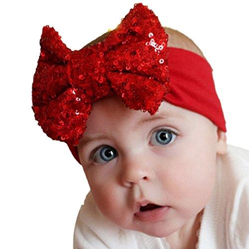 Tonsee® 2015 Enfants élastique Serre-tête Paillettes mignon Bow Baby Girl cheveux accessoires de mode (A)