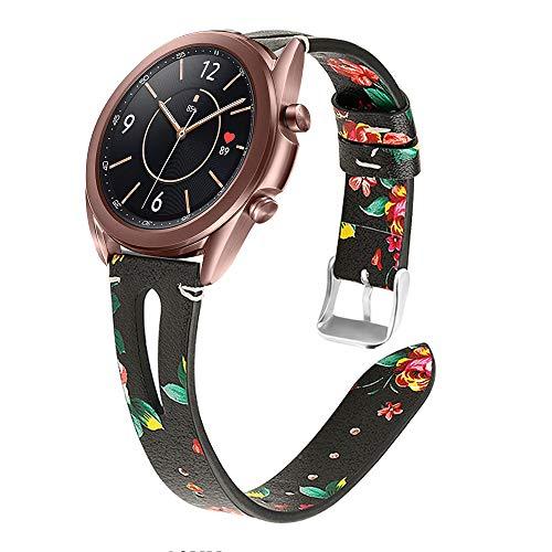 YSSNH Compatible para Correa Samsung Galaxy Active 20mm Correa de Cuero Pulsera de Repuesto de Liberación Rápida de Mujer para Galaxy Watch 42mm/ Active 2 40mm/Active 2 44mm