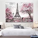 KWzEQ Imprimir en Lienzo Torre de París para Sala de Estar Cuadros Decorativos y Carteles Arte de pared70x90cmPintura sin Marco