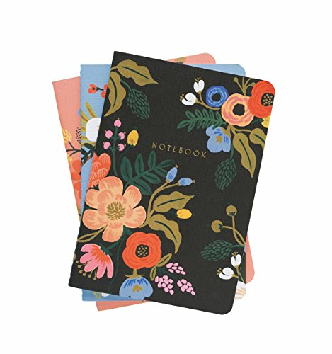Lively Floral Stitched Lined Notebooks, Set of 3