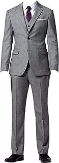 Men 3 Piece 2 Button Formal Slim Fit Fashion Business Suits Grey