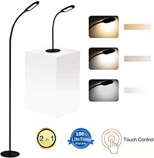 Shalomlite Dimmable LED Floor Lamp, 2 in 1 Standing Lamp Desk Lamp for Living Room Bedroom, Adjustable LED Floor Light Stepless Dimmer with Touch Control, 5 Brightness Levels & 3 Color Temperature