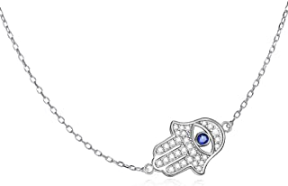 LONAGO 925 Sterling Silver Hamsa Hand of Fatima Evil Eye Sideways Choker Necklace with Blue White CZ Pendant Jewelry for Women