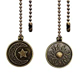 Dotlite Copper Ceiling Fan Pull Chain Set, Decorative Totem Fan Pull Chain Pendant Extension, 12 Inches Lighting & Fan Beaded Ball Fan Pull Chain Extender Ornament with Connector, Moon and Sun (2Pack)