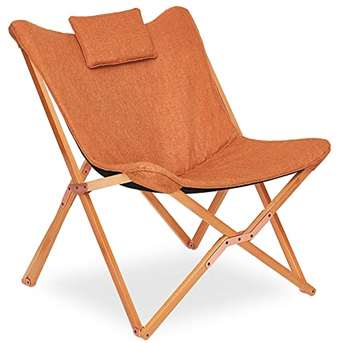 Silla Plegables Diseño de Mariposa Sillas de Jardin Sillón Reclinable Moderno Acolchado para Interior y Exterior Camping Terraza Naranja