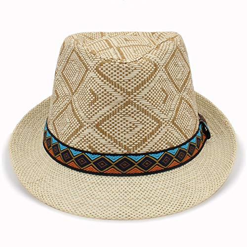 kimreaber Sombrero de sol para mujer y hombre, sombrero de paja elegante de la reina homburgo de caballero, sombrero de playa Panamá (color: beige, tamaño: 56-58 cm)