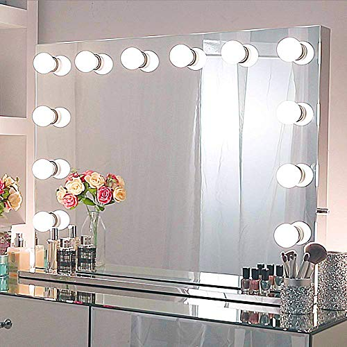 Chende Large Vanity Mirror with Lights, 31.5 x 23.62 Inches Hollywood Mirror with Extra Outlet, 14 Replaceable LED Bulbs and Stainless Steel Frame, Wall Lighted Mirror