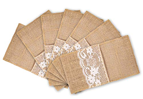 mds Pack of 200 Wedding Burlap 4 x 8 Lace InchUtensil Holders Silverware Cutlery Pouch Bag Lace Napkin Holders for Rustic Wedding and Tableware Decorations