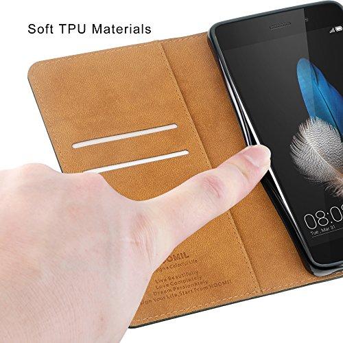 HOOMIL Handyhülle für Huawei P8 Lite Hülle, Premium PU Leder Flip Schutzhülle für Huawei P8 Lite Tasche, Schwarz - 6