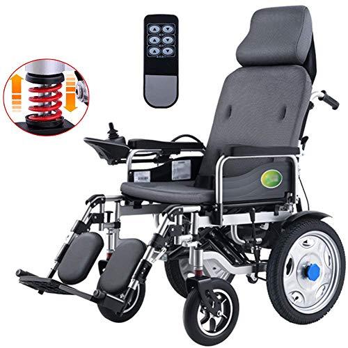 AOLI Silla de ruedas eléctrica para trabajo pesado con el apoyo para la cabeza, plegable plegable y Powerchair portátiles ligeros con mando a distancia, Energía Eléctrica o la manipulación man