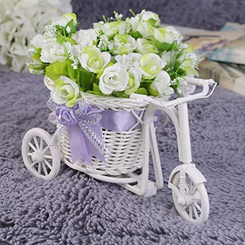 Dormitorio de Oficina de plástico como Regalo del Triciclo de Mimbre Bicicleta Canasta de Flores Decoración del Banquete de Boda del jardín Mini Carrito de Servicios públicos - Púrpura