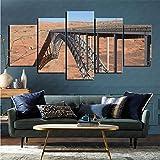 mmkow Canvas Wall Art 5-Piece Set Artificial Glen Canyon Dam Bridge Living Room Artwork 50x100cm (Framed)