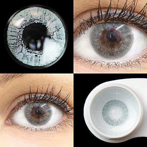 GLAMLENS Flora Sterling Gray grau + Behälter | Sehr stark deckende natürliche graue Kontaktlinsen farbig | farbige Monatslinsen aus Silikon Hydrogel | 1 Paar (2 Stück) | DIA 14,50 | Ohne Stärke