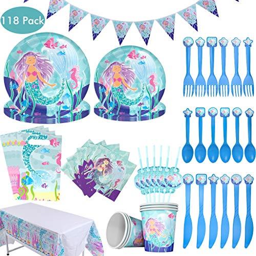 Amycute 118-teiliges Meerjungfrau Geburtstag Dekoration Meerjungfrau Geschirrset Einweg Abendessen Dessert Teller Servietten Tassen Tischdecke für 12 Gäste.
