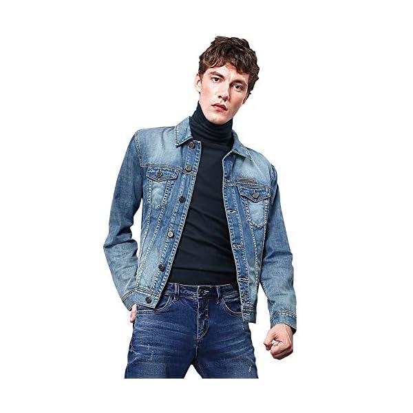 LONGBIDA Mens Classic Regular-Fit Denim Jacket Slim Fit Trucker Coat
