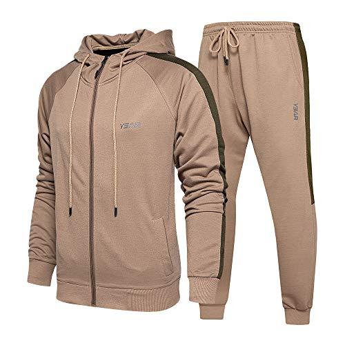 Men Activewear Leisure Suits 2 Piece Set with Zip Up Hoodies for Running Walking Jogging Khaki XX-Large