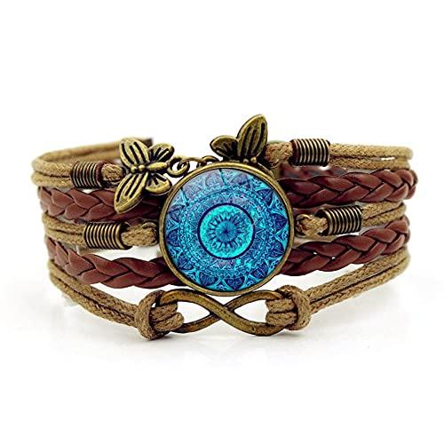 N/A Pulsera de Piedras Preciosas de Flor de Mandala Azul, joyería de combinación de 8 Caracteres de Mariposa Vintage Aniversario de Bodas día de la Madre Regalo de cumpleaños de Navidad