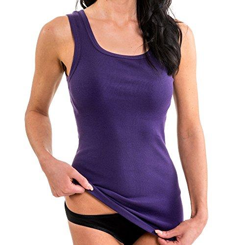 HERMKO 1325 Damen Longshirt in Trend-Farben aus 100{7413cb5332d1bff6a2df425fa693030c9818c9a11bb4dd9b1b94a29cd8f3b472} Bio-Baumwolle, Tank Top auch in Übergrößen, längeres Shirt für drüber und drunter, Farbe:lila, Größe:36/38 (S)