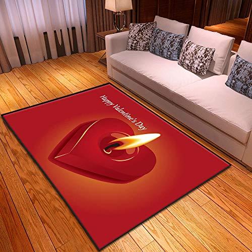 CQIIKJ Alfombra Estampada Vela Amor roja Amarilla Alfombra Antideslizante Alfombra Lavable 60 x 90 cm para la Entrada de casa, baño o Dormitorio Lavandería