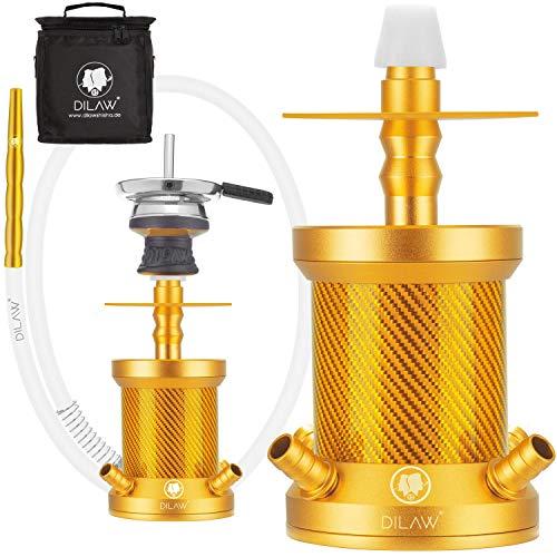 DILAW® Turtle X Carbon Shisha Aluminium 22cm Hookah to Go 4 Anschlüsse mit Tasche | Wasserpfeife | Kaminkopf | Komplettset | Tauchrohr mit Diffusor | Silikonschlauch Alumundstück Tabakkopf (Gold)