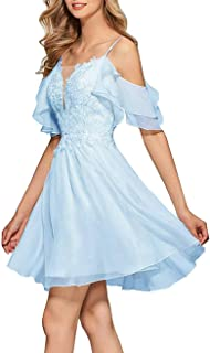 Jonlyc A Line Cold Shoulder Appliques Bridesmaid Dress Chiffon Short Homecoming Dresses