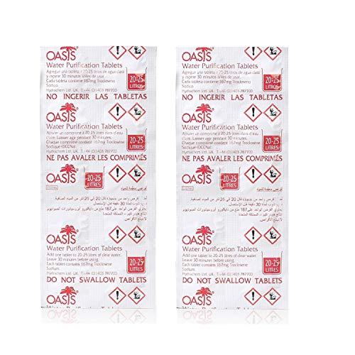 Wicked Chili 20x Chlortabletten geeignet für Waterrower Rudergerät, Water Rower, Oasis Chlor Tabletten, Water Purification Tablets gegen Algen (2 Jahresbedarf, pro Tablette 25L entkeimtes Wasser)