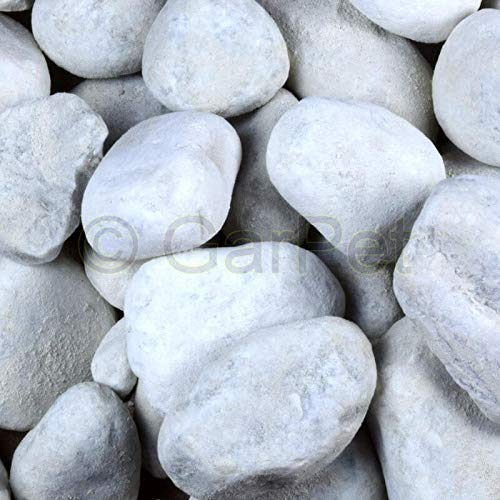 Zierkies 25 kg 60-100 mm Aquarium Carrara Weiß Garten Kies Marmor Gabion Steinteppich