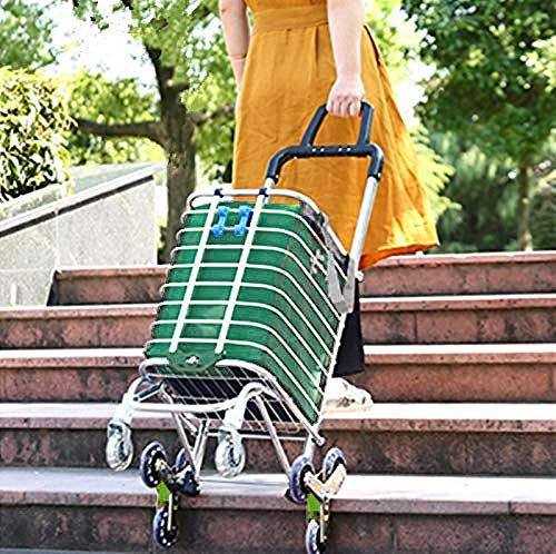 DEED Multifunktions-Einkaufswagen, Küchen-Klappwagen, Tragbarer Einkaufstreppen-Kletterwagen Mit Drehbaren Rollen Und Abnehmbarer Wasserdichter Segeltuchtasche Mit Gehhilfe,Grün