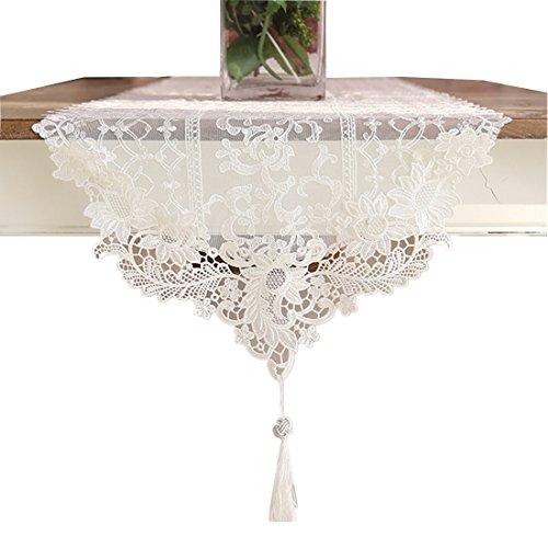 Ethomes Spitze Weiß Stickerei Tischläufer mit Quaste für Tischdekoration 120cm