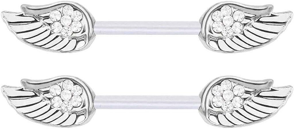 Pair of Clear cz Angel Wings Nipple Flexible Bioplastic rings 14g