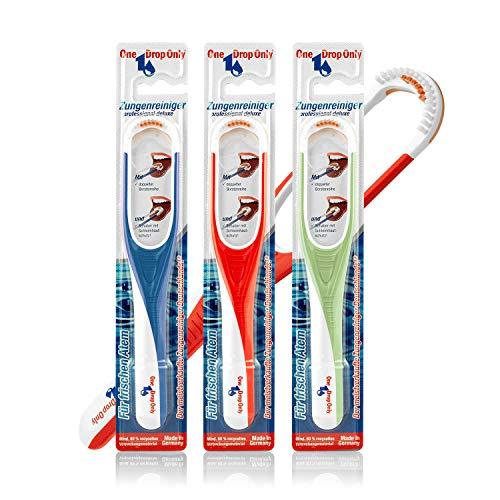One Drop Only Zungenreiniger Professional Deluxe gegen Mundgeruch, Zungenschaber und -bürste zum Entfernen von Belägen, 3er Pack