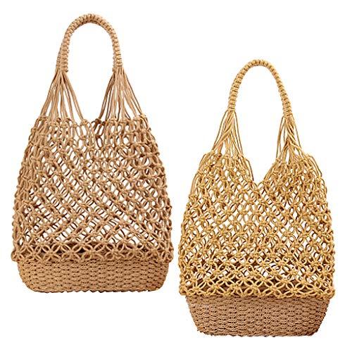 oshhni 2 Pieces Women Cotton Straw Shoulder Bag Beach Bag Fishing Net Woven - Brown+Yellow