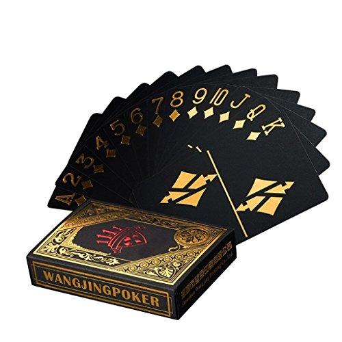 Leaptech Wasserdichtes Pokerkarten Schwarze Spielkarten Profi Poker Karte Spielkarte Playing Cards aus Plastik Top Qualität Plastic Poker für Ihr Poker Vergnügen (Gold)