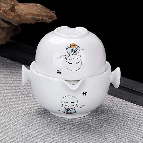 Tazas concéntricas pintadas a mano azul y blanco juego de té de viaje juego de té hogar una olla dos tazas taza de invitado rápida tetera portátil al aire libre-Invitado rápido una olla y una taza-Ze