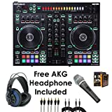 Roland PKG DJ-505 Two Channel, Four-Deck Serato DJ Controller – Package Bundle with EMIC800 Microphone, 3x RCA Cable, 2x QTQ Cable, and Free Blue Headphone & Mobile Bracket