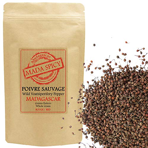 """Poivre sauvage """"rouge"""" voatsiperifery de Madagascar 100gr. Eco-recharge sachet zip alimentaire."""