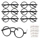 KATOOM 16PCS Gafas de Harry Potter, Gafas Redondas de Infantil, con 6 Hojas Tatuaje para Niños, Gafas Wizard sin Lentes Estilo de Empollón para Materiales de Fiesta de Disfraces Halloween, Negro