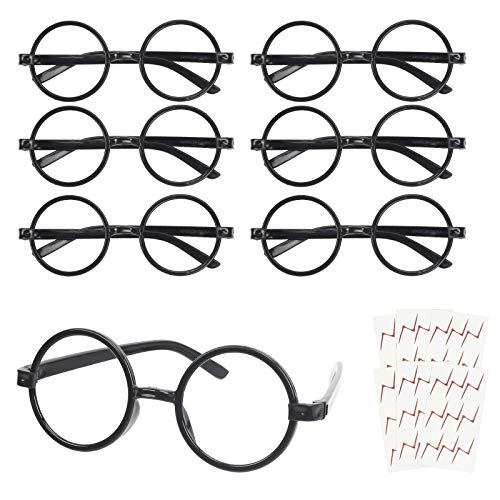 KATOOM 16PCS Gafas de Harry Potter, Gafas Redondas de Infantil, con 6 Hojas Tatuaje para Nios, Gafas Wizard sin Lentes Estilo de Empolln para Materiales de Fiesta de Disfraces Halloween, Negro