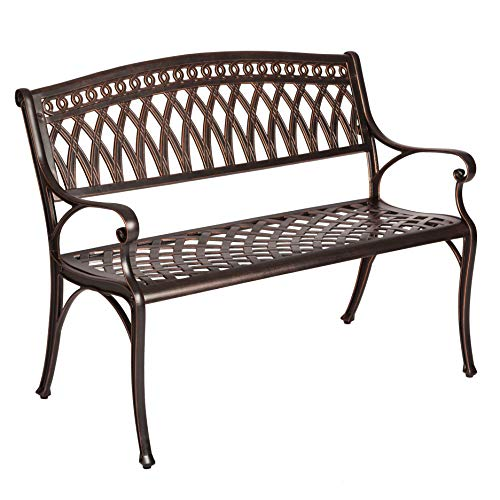 Patio Sense Simone Cast Aluminum Patio Bench | Antique Bronze Finish | Heavy Duty Rust Free Metal Construction | Lightweight | Easy Assembly | Front Porch, Backyard, Lawn, Garden, Pool, Deck, Outdoor