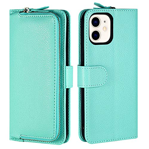 LAMEEKU iPhone 12 Pro Max Wallet Case - Flip Case Card Case Credit Card Holder Zipper Purse Leather Cover [Protective] Magnetic Closure Bumper for iPhone 12 Pro Max 6.7 inch, Mint Green