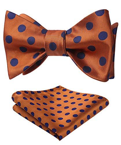 HISDERN Herren Punktmuster Selbst Fliege Taschentuch Party Hochzeit Fliegen & Einstecktuch Set One Size Orange/Blau